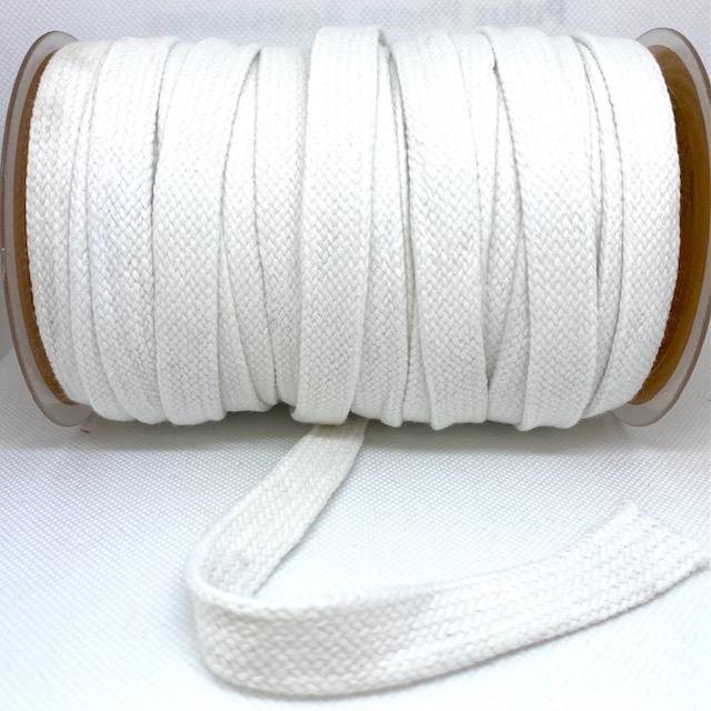 Baumwollkordel flach, 20 mm, Weiß,  Art. 020-550