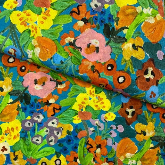 Tencel Blusenstoff, Blumen, Digital Druck. Art. 922212