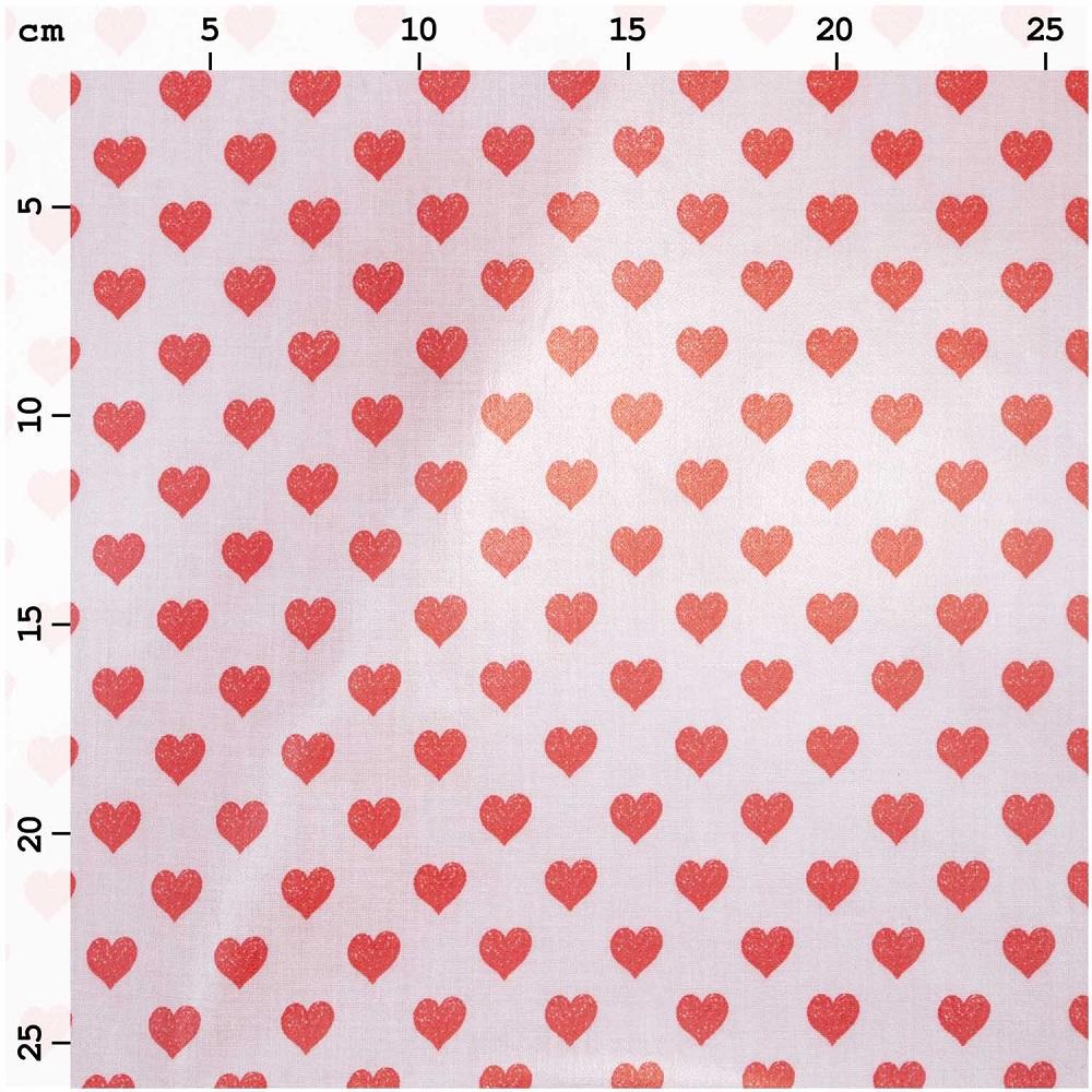 Rico Design Stoff, Herzen rot/rosa, beschichtet. Art. SW10485