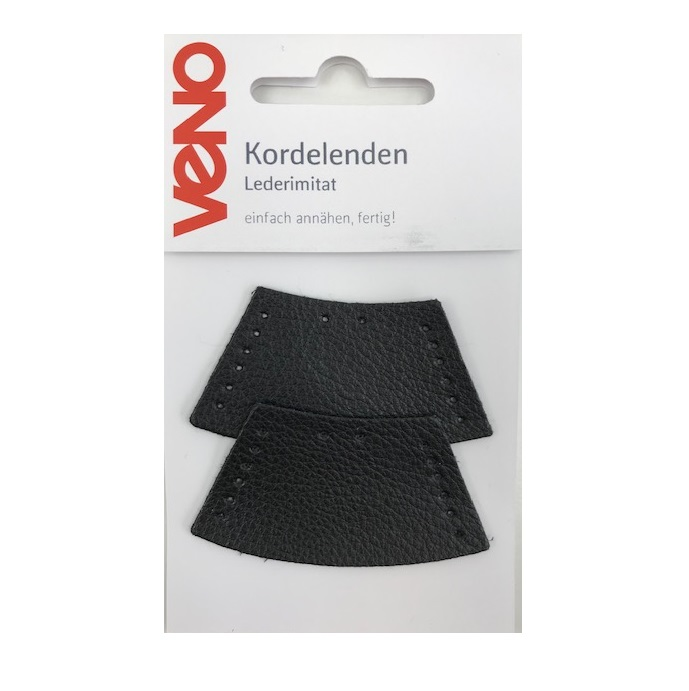 Kordelenden Lederimitat, schwarz - 2 Stück. Art. SW11545