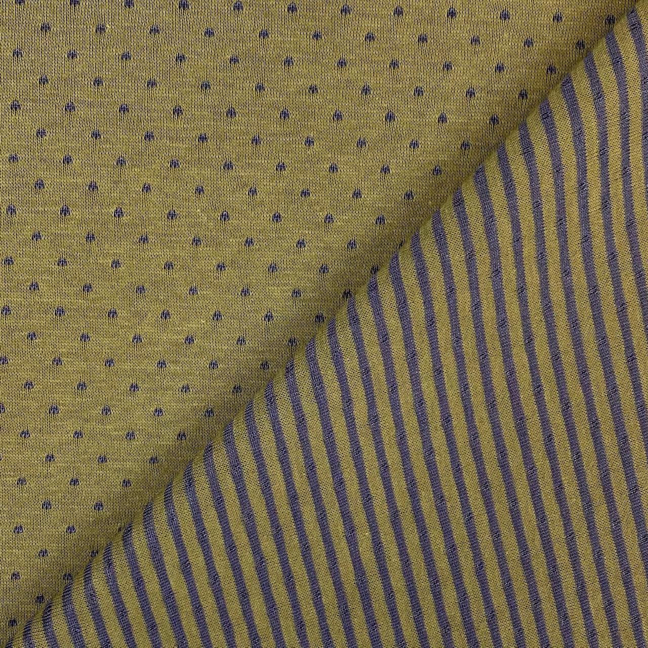 Jacquard Jersey, Doubleface Punkte&Streifen.  Art. SW11268