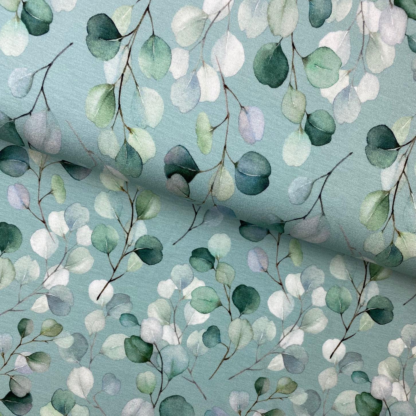 Viskosenjersey, Digital Druck, Eukalyptusblätter, mint.  Art. 4867/426