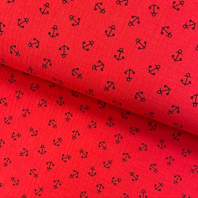 Baumwoll Musselin Double Gauze, Anker rot. Art. SW11806