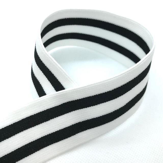 Gummiband, 4 cm, Streifen, weiß/schwarz. Art. 040-369