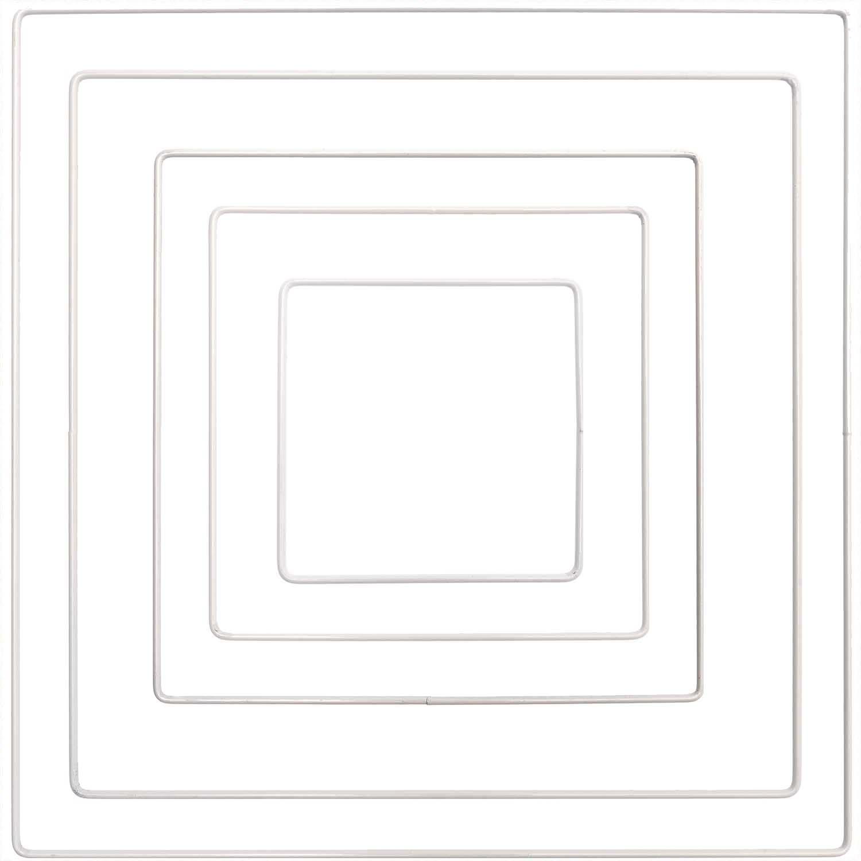Metallring Quadrat weiß, 20 cm