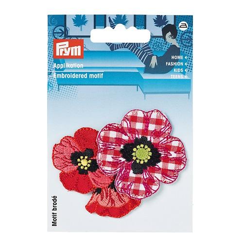 Applikation Blumen Landhaus rot/weiß. Art. 926474