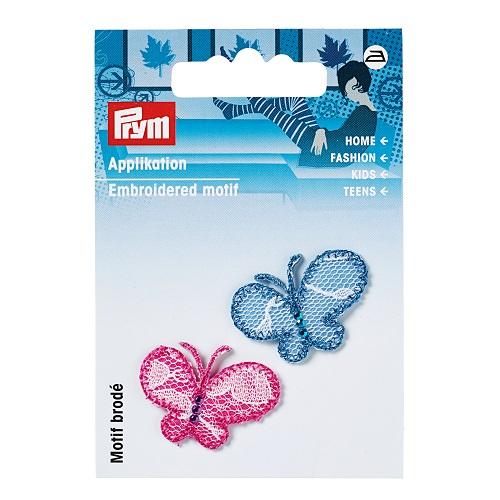 Applikation Schmetterlinge, pink/blau.  Art. 925267