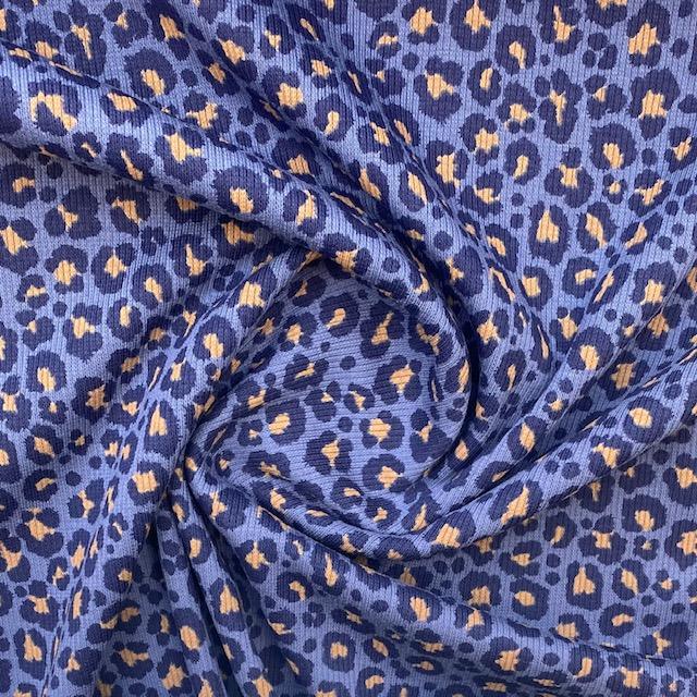 Baumwolljersey, gerippt,  Panther, jeansblau. Art. KC8363-007