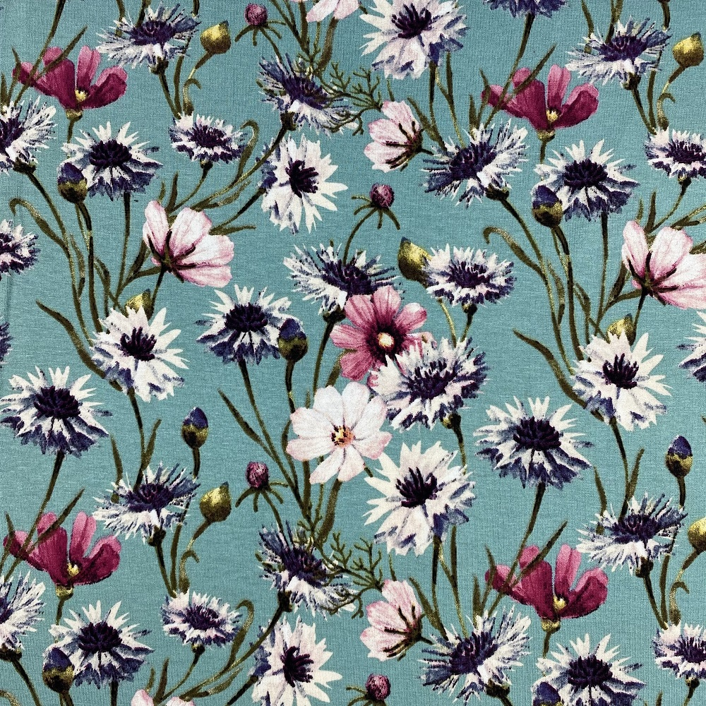 Viskosenjersey, Blumen, türkis. Art. 36781.22