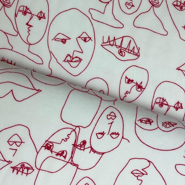 Leichter Viskosen-Stoff, Gesichter, rot. Art. 5655-02