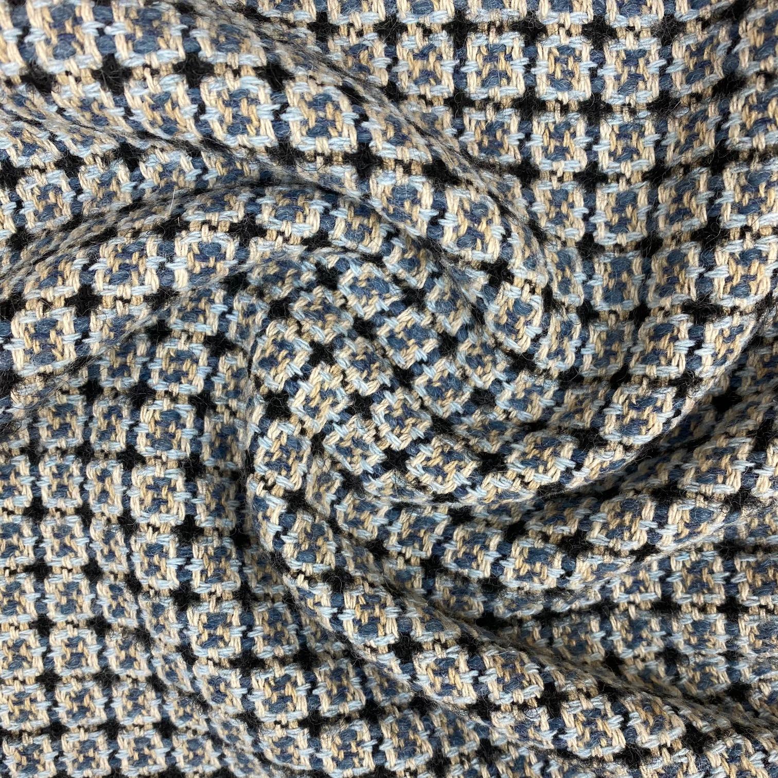 Mantelstoff, Buntgewebe Wolle, blau/hellblau. Art. 3332-04
