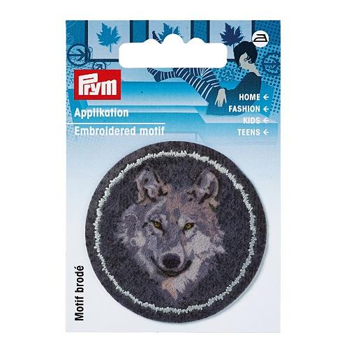Applikation Patch, Wolf, grau/anthrazit.  Art. 923178