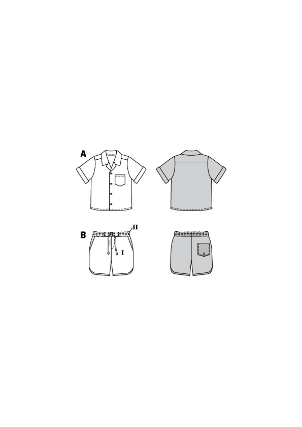 Haiwai-Hemd und meeresfarbene Shorts. Burda #9285