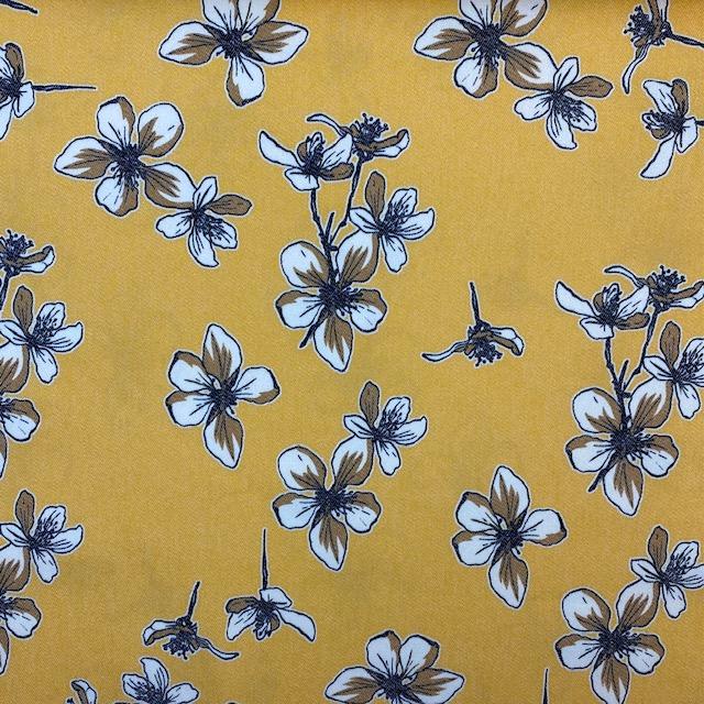 Jeansstoff bedruckt Floral von Toptex, gelb. Art. 5670-02