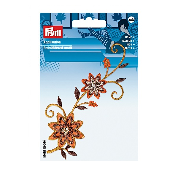 Applikation Blumenranke orange/braun mit Perlen, Prym. Art. 926330