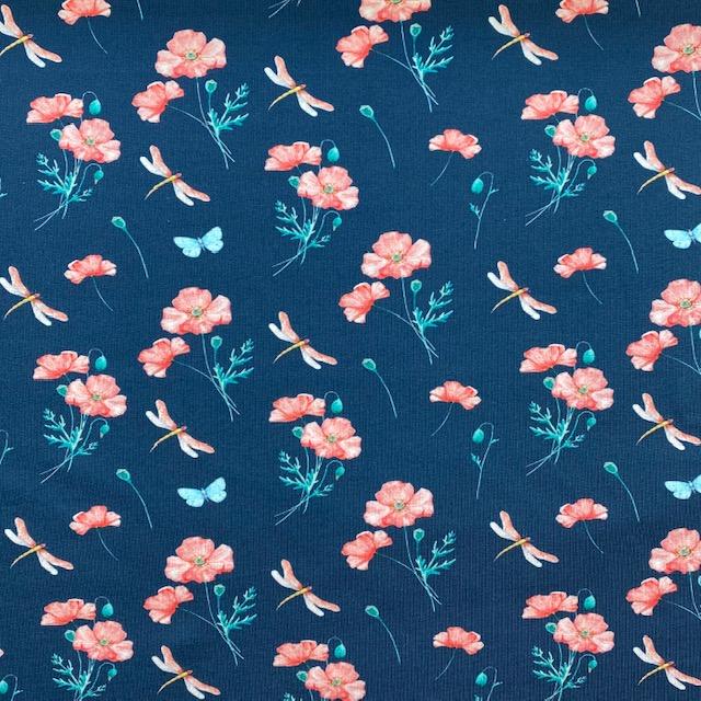 Baumwolljersey, Blumen und Libellen. Art. 4847/1107