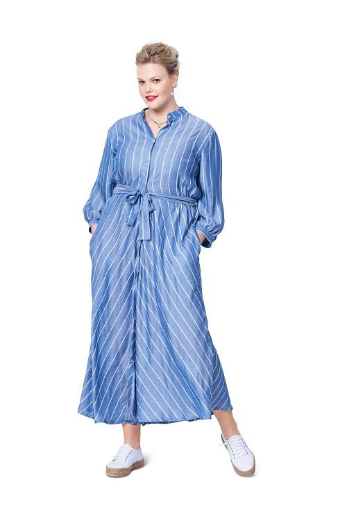 Schickes Hemdblusenkleid / Kragenlose Bluse #6108